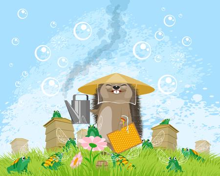 Vector illustration of Chinese beekeeper hedgehog on apiary Çizim