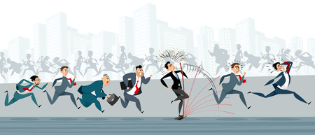 Vector illustration of businessmen making the same mistakes Illustration