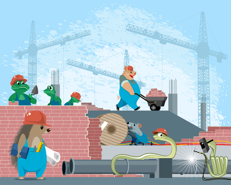 Vector illustration of animals on a construction site