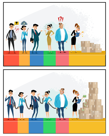 Vector illustration of productive and unproductive work