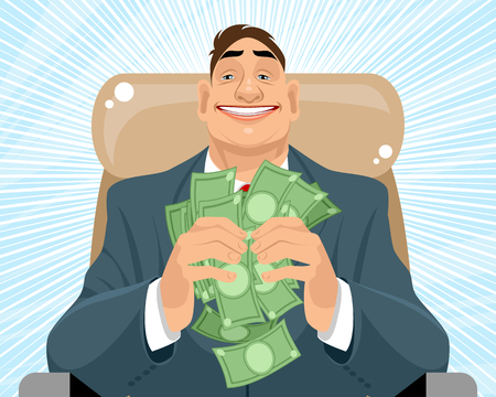 Vector illustration of a smiling businessman with money