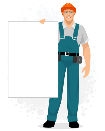 Vector illustration of a builder with a banner