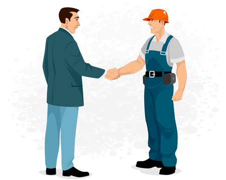 Vector illustration of a handshake of Builder with customer