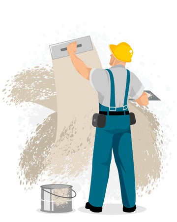 Vector illustration of a master plastering wall Stock Illustratie