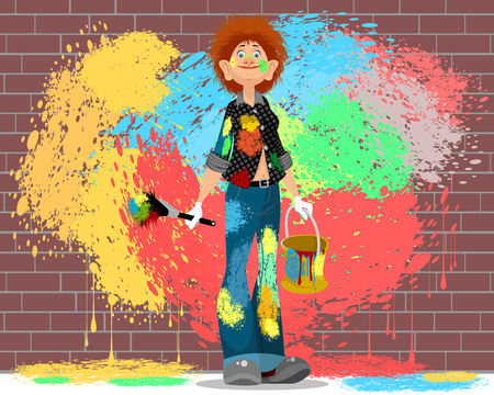 Vector illustration of a girl stained in paint Illusztráció