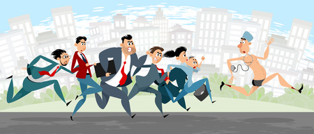 Vector illustration of lawyers chasing a doctor