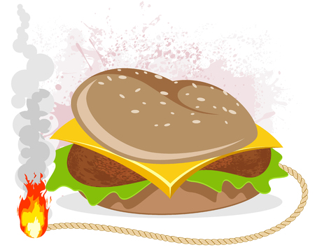 Vector illustration of a hamburger with a wick Çizim