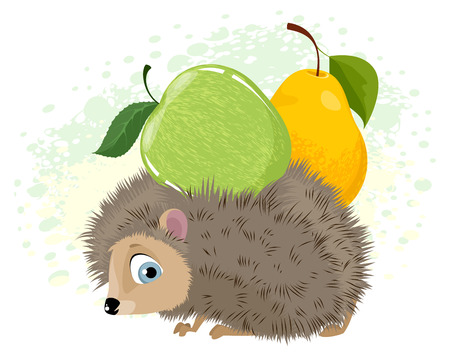 Vector illustration of hedgehog with fruit on his back