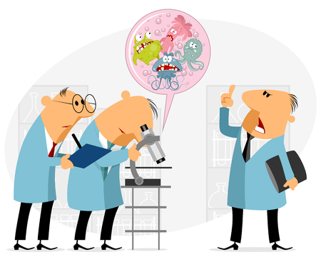 Vector illustration of scientists studying microbes in the laboratory Illustration