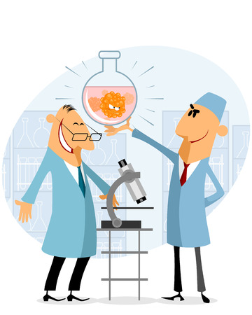 Vector illustration of scientists rejoicing in their success