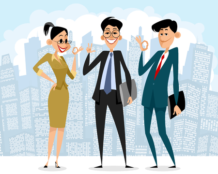 Vector illustration of happy business people on city background