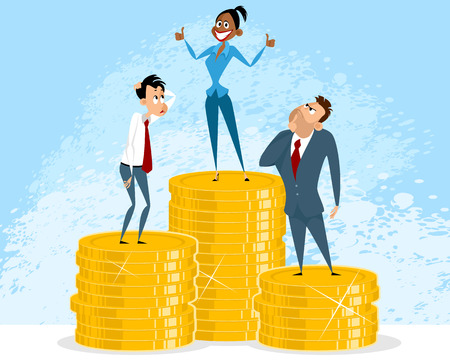 Vector illustration of a successful businesswoman and envious businessmen