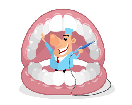Vector illustration of a dentist in the mouth