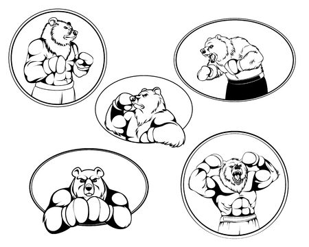 Vector illustration of a set of boxer bear logos