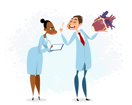Vector illustration of doctor holding heart in his hand Illustration
