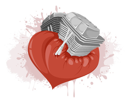 Vector illustration of the motor in the heart Illustration