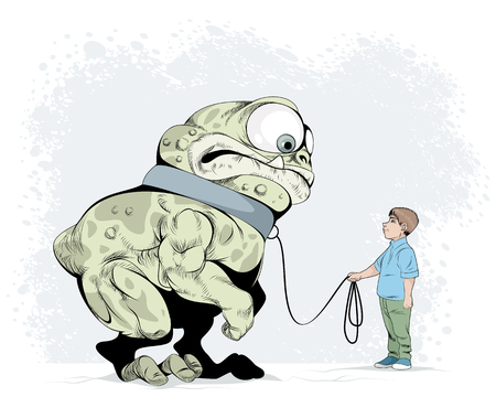 Vector illustration of a boy and his tamed fear