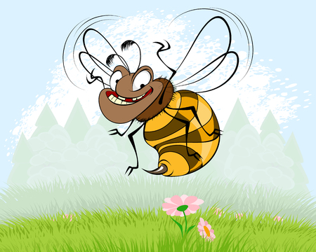 Vector illustration of funny bee on background of nature