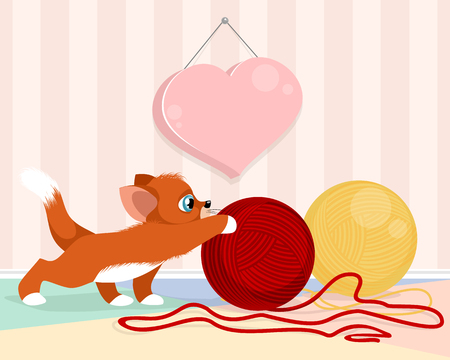 Vector illustration of kitten playing with balls of yarn