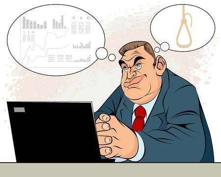 Vector illustration of a businessman in depression Illustration