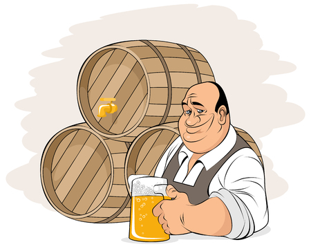 Vector illustration of man on background of beer barrels 矢量图像
