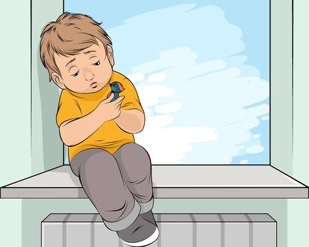 Vectorillustratie van het afscheid van een jongen met een vogel Vector Illustratie