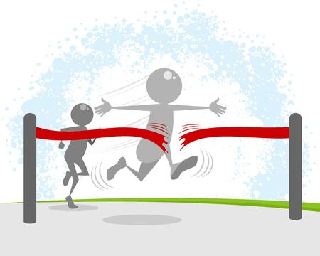 Illustration vectorielle du gagnant à l'arrivée