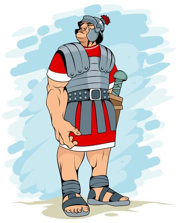 Vector illustration of a portrait of a Roman legionary