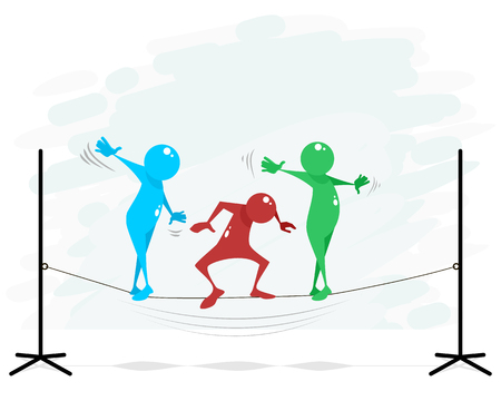 Vector illustration of maintaining balance on a rope