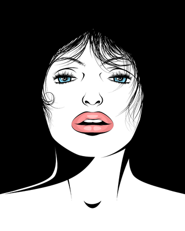 Vector illustration of a portrait of an adult woman