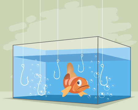 Vector illustration of one fish in an aquarium