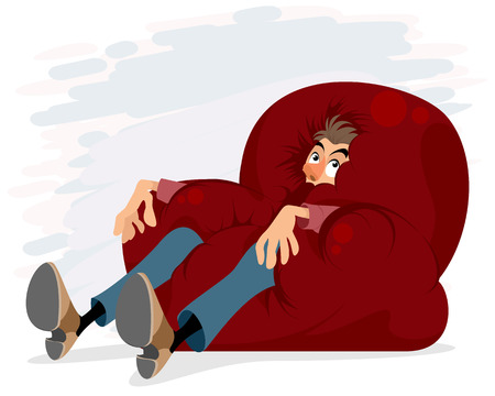 Vector illustration of a man on too soft chair