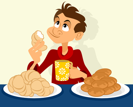 Vector illustration of a man with pies and croissants Standard-Bild - 122546480