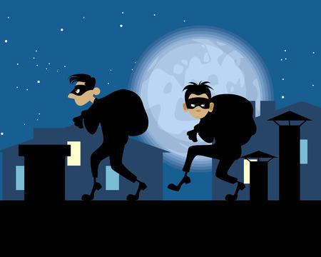 Illustration vectorielle de voleurs de nuit sur le toit Vecteurs