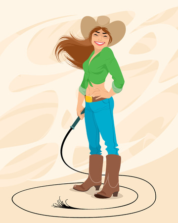 Vector illustration of a portrait of a cowgirl 일러스트
