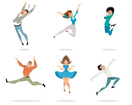 Vector illustration of happy and expressive people Ilustracja