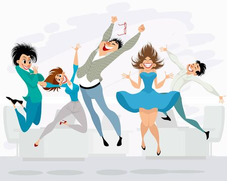 Vector illustration of happy people in the office Ilustracja