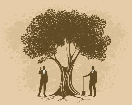 Vector illustration of constant care of own business