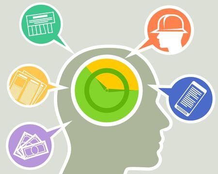 Vector illustration of the overloaded brain of modern man