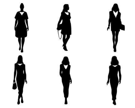 Vector illustration of women silhouettes set on white