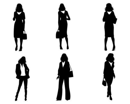 Ilustracja wektorowa sylwetek współczesnych kobiet