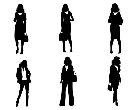 Vector illustration of silhouettes of modern women