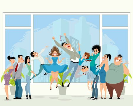 Vector illustration of happy people in the office Çizim