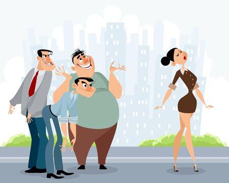 Vector illustration of men staring at beautiful woman