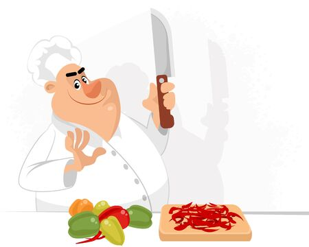 Vector illustration of a chef cutting peppers