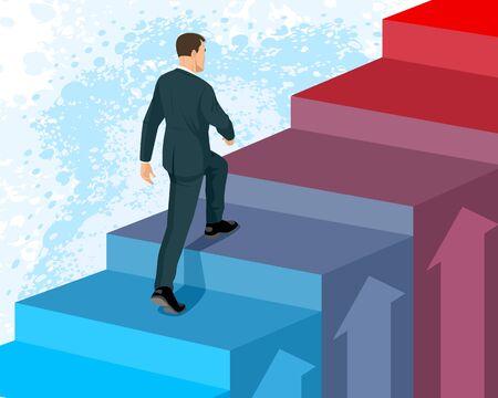 Illustrazione vettoriale di un uomo d'affari che sale le scale
