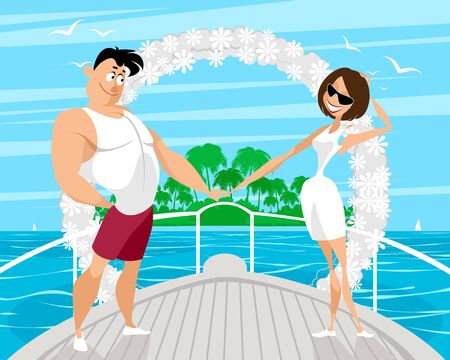 Vector illustration of a couples wedding cruise