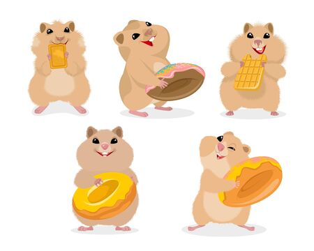 Vector illustration of a set of five hamsters