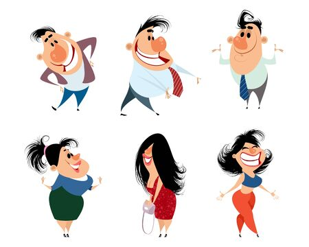 Vector illustration of a set of caricature people
