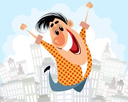 Vector illustration of a man jumping with happiness Ilustracja